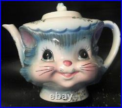 Cutest Vintage Lefton Cat Teapot 4-cup hand-painted, Approx. 6.5 tall