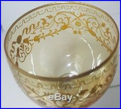 Czech Air Twist Gold Glass Goblets Stems Honey Amber 7.5 Tall Venetian Vintage
