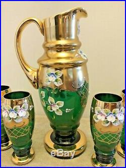 Czech Bohemian Crystal Pitcher & 6 Glasses Green Gilded Raised Enamel 12 Tall