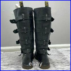 DR MARTENS Black Leather Phina The Walking Dead Tall Biker Boots US Size 7