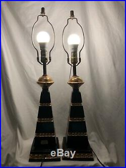 Deena Products Lamps MCM Black & Gold Base Working 29 Tall Hand Painted