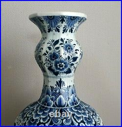 Delft Tall Gourd Vase 14.6 Inches Hand Painted Excellent