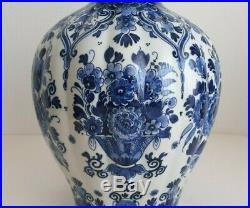 Delft Tall Gourd Vase 17.3 Inches Hand Painted Excellent Rare