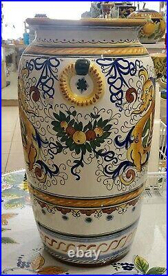 Deruta Pottery-21,1/2x10 Inch Tall Vase Raffaellesco Made/painted by hand-Italy
