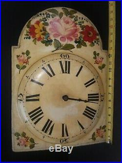 Early Antique Grandfather Tall Case Clock Works Movement Hand Painted Wood Dial