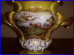 Elegant Hand-Painted 19th C. Antique French Porcelain Vase 10.5 tall