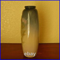 Elegantly Tall Antique Weller Pottery Etna Vase with Hand-Painted Pink Thistles