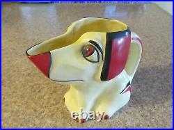 Erphila Czechoslovakian Hand Painted Vintage 922 Dog Pitcher 6 1/4 Tall