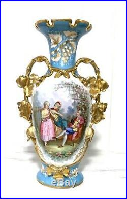 Estate Antique Hand Painted Scenic Old Paris French Porcelain Tall Vase