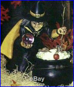 Extra Large Witch With Cauldron Ceramic Bisque Hand-Painted, 17 Tall