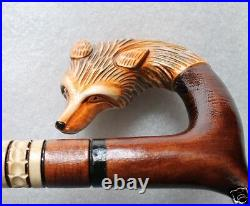 FOX Gorgeous 43 inches Hand Carved Wooden Art WALKING STICK Cane, for Tall Man