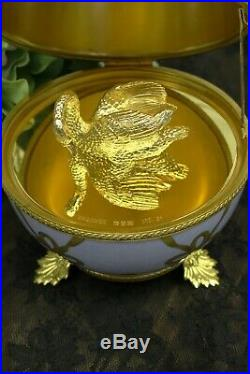 Faberge Limoges Swan Egg Limited Edition No. 56 Hand Painted 8 Tall France