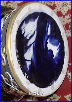 Fantastic Porcelian Hand Painted Angels Cobalt Blue 34 Tall Goldleaf Vases