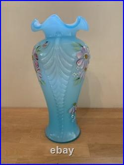 Fenton 10.5 Tall Blue Hand Painted by D Robinson Ruffle Flower Feather Vase