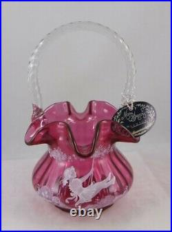 Fenton 1539 DQ Cranberry HP Mary Gregory 8 Tall Rib Optic Basket LE #213/1500