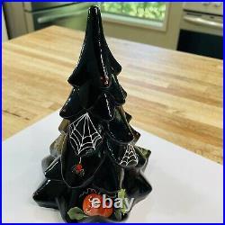 Fenton Art Glass Halloween Tree Pumpkins Spider Bat and Webs 7.5 Tall