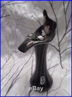Fenton Art Glass Spiral Optic Black Amethyst Jack In The Pulpit Vase 7 Tall D