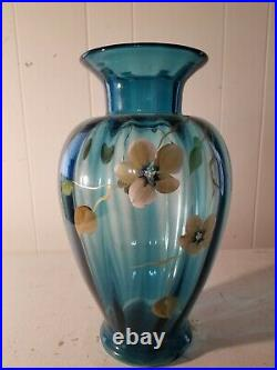Fenton Big Blue Vase 13'' Tall with flowers both sides