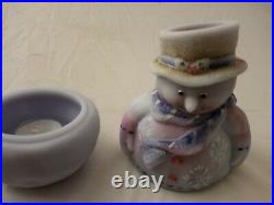 Fenton Blue Burmese Hand Painted Snowman Candle lite 7''tall excellent