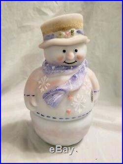 Fenton Blue Burmese Snowman Candle lite 7''tall excellent