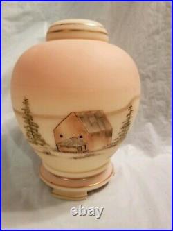 Fenton Burmese Glass Ginger Jar Old House 9''Tall excellent