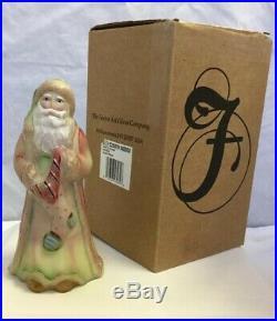 Fenton Burmese Santa 8 Tall Opal Sanded W Stocking NIB Signed L. Everson #359