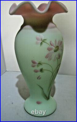Fenton Burmese Tall Vase with ruffled edge Handpainted Flowers #1597/2750