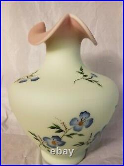 Fenton Burmese Vase 12''tall big Pink & blue Flowers
