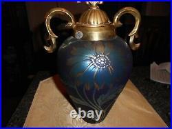 Fenton Favrene Daisy Vase with metal lid 11 1/4 tall 8 wide