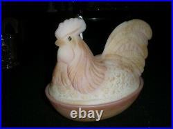 Fenton Glass Burmese hen on nest 8 1.2 long x 6 tall