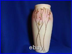 Fenton Hand Painted Burmese 12 1/2 Inch Tall Vase Signed By D. Robinson