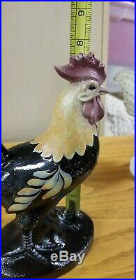 Fenton Hand Painted Ebony Black Solid 8 1/2 Tall Rooster / Chicken JK SPINDLER