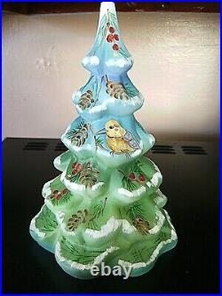 Fenton Kim Barley (hp) Blue/green 6-1/2 Tall Chickadee Christmas Tree #4/8