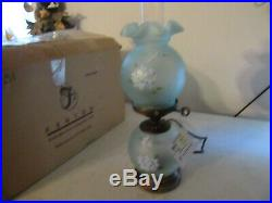 Fenton Lamp 18''tall New in box blue in color with white flowers