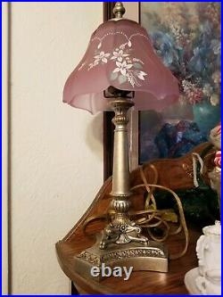 Fenton Lamp 18''tall lavender w\white flowers color