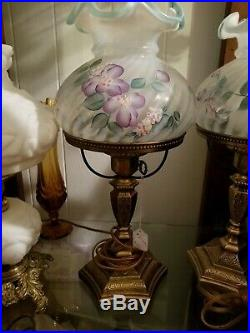 Fenton Lamp 20''tall sea foam green and purple flowers #1Excellent