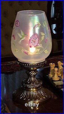 Fenton Lamp Hummingbird Iridescent Glass Brass Base 13.25 Tall Excellent Cond