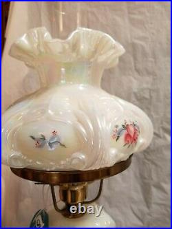Fenton Lamp Shiney Finish with Pink&Blue Flowers all around 21''Tall