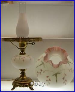 Fenton Lamp White Satin MAUVE Airbrush Rim PINK FRIT FLOWER BUDS 22 tall