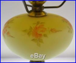 Fenton Lamp Yellow Burmese Satin PEACH ROSE Table w Fount 21 tall Free48stSHIP