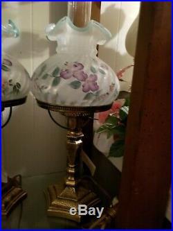 Fenton Lamp sea foam green purple flowers #2 Lamp 20'' tall excellent