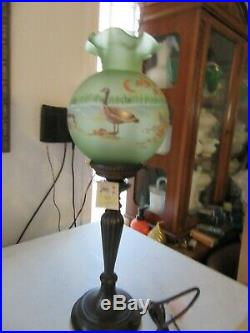 Fenton Lamp with Canidan Geese Pillow lamp 26''tall Excellent condition