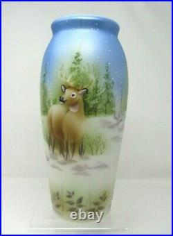 Fenton Large Vase Silent Night by Spindler 12.5 tall Deer 2016