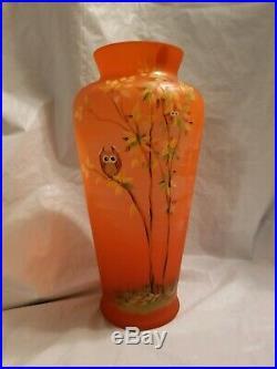 Fenton Owl Vase 11'' Tall Excellent Condition