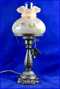 Fenton Rose Pink Cased Student Lamp Hand Painted By J. Powell 20 Tall