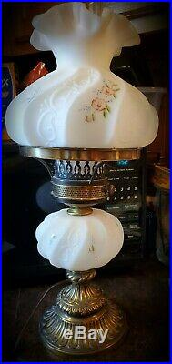 Fenton Satin Paisley hand painted Student lamp floral design 20 Tall