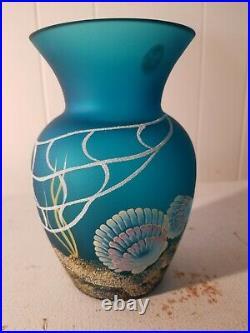 Fenton Seahorse Vase 7''Tall 100th Yr Painted all around