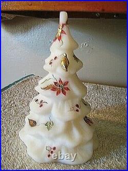 Fenton T. Kelley (hp) White Satin Tree 6-1/2 Tall Poinsettias/gold Bird