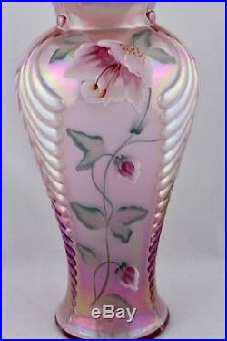 Fenton Tall Dusty Rose Hand Painted Feather Vase Artist Signed Rare