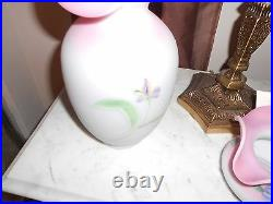 Fenton glass Burmese Vase with flowers 10''tall excellent condition pink &blue